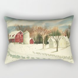 Homestead // Watercolor Painting // Red Barn, Rural Midwest Rectangular Pillow
