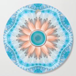 Alluring Tan and White Magnolia in a Turquoise Sky Cutting Board