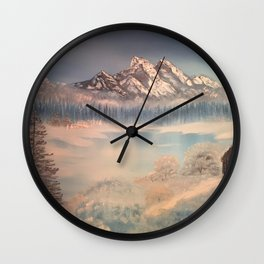 Icy tranquility - Cabin by the pond Wall Clock