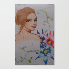 gril&flower Canvas Print