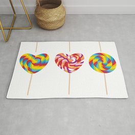 lollipops, colorful spiral candy cane with twisted design Rug