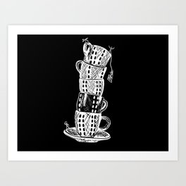 Leaning Tower of Tea Cups Art Print