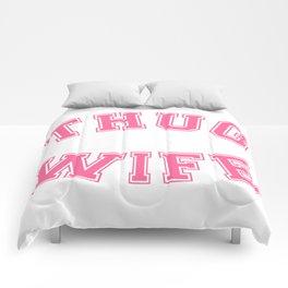 THUG WIFE, pink Comforters