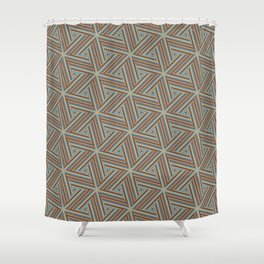 Brown and Blue Op Art Triangles Shower Curtain