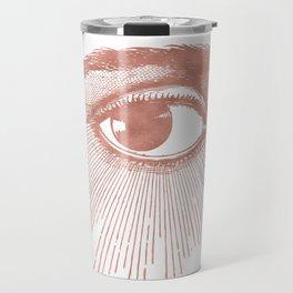 I see you. Rose Gold Pink Quartz on White Travel Mug