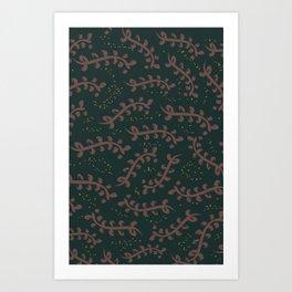 Twiggy (Dark Green) Art Print