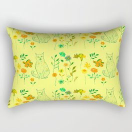 Cat in the garden - Pattern Rectangular Pillow