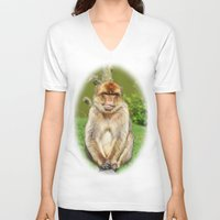 ape V-neck T-shirts featuring Barbary ape by Pirmin Nohr