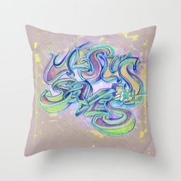 afro blu back Throw Pillow
