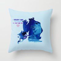 monster inc Throw Pillows featuring Monsters Inc by Keri Lynne