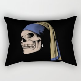 The Skull with a Pearl Earring Rectangular Pillow