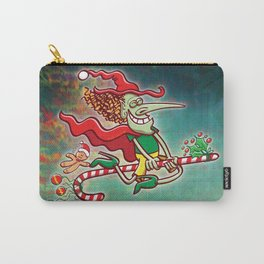 Halloween witch flying on a Christmas candy cane Carry-All Pouch