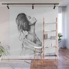 Pretty Lady Illustration Woman Portrait Beauty Wall Mural