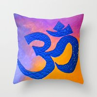 ohm Throw Pillows featuring Ohm by KD Ives