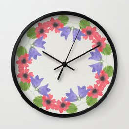 Bold Watercolor Floral II - Sophisticated large scale charming print on white Wall Clock