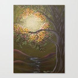 Moonlight Dance, tree and light art, moonlight, river valley Canvas Print