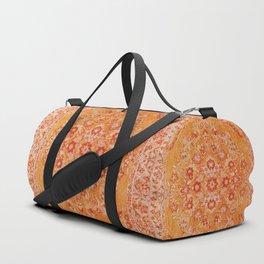 Orange Boho Oriental Vintage Traditional Moroccan Carpet style Design Duffle Bag