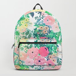 Pretty Pink Yellow & Green Watercolor floral paint Backpack