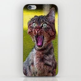 funny cat shocked iPhone Skin