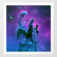 nebula Art Prints featuring Nebula Purple Blue Pink by 2sweet4words Designs