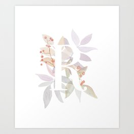 Rustic Initial R - Watercolor Letter Branches and Leaves Monogram Art Print