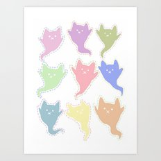 Cat Ghosts Art Print