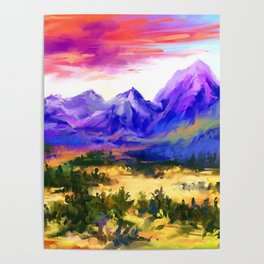 Sunset at valley Poster