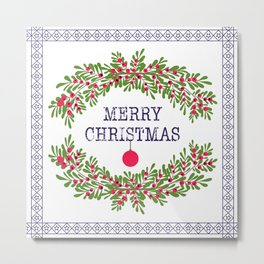 Merry christmas and happy new year white greeting card wreath light white background Metal Print