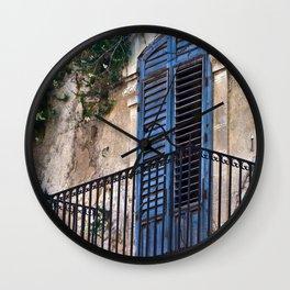 Blue Sicilian Door on the Balcony Wall Clock