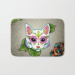 White Cat - Day of the Dead Sugar Skull Kitty Bath Mat