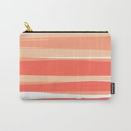 Striped Abstract, Living Coral Californian Sunset Carry-All Pouch