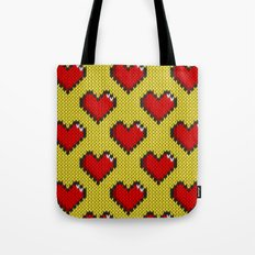Knitted heart pattern - yellow Tote Bag