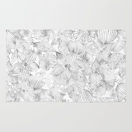Hand painted black white watercolor tribal floral Rug
