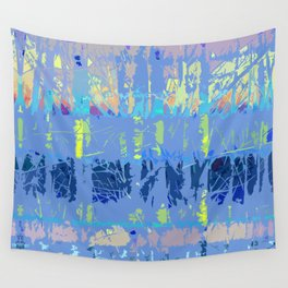 Abstract Forest Trees in Blue and Lilac Wall Tapestry