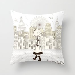 I {❤} Umbrella Throw Pillow