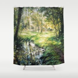 Landscape of a forest and river Shower Curtain