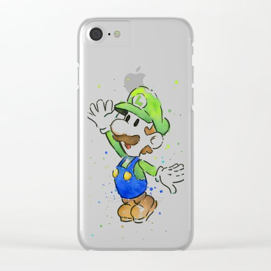 Luigi Watercolor Art Clear iPhone Case