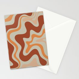 Liquid Swirl Abstract Pattern Rust Orange Pale Sage  Stationery Cards