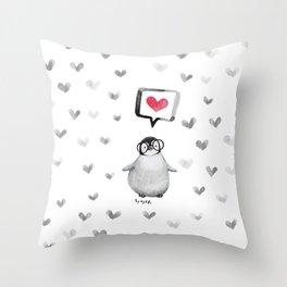 Tiny penguin love Throw Pillow