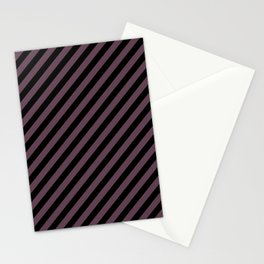 Eggplant Violet and Black Diagonal RTL Stripes Stationery Cards