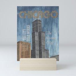 Retro Travel Poster Chicago Mini Art Print
