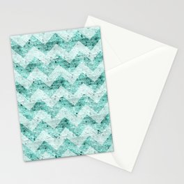 Teal Wood Chevron  Stationery Cards