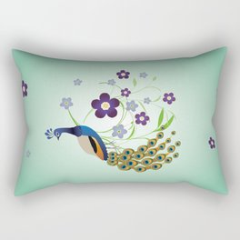 Peacock with flowers Rectangular Pillow
