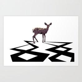 Deer Electrified Art Print