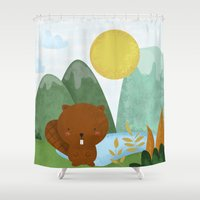 beaver Shower Curtains featuring little beaver by Proyecto Melón
