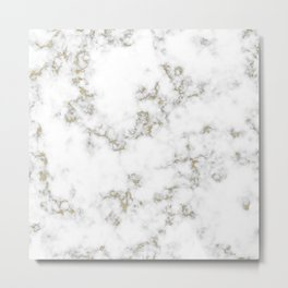 White marble texture with natural pattern for background or design art work Metal Print