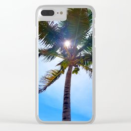 Palm Tree, Coconuts, Blue Skies and Sunshine Clear iPhone Case