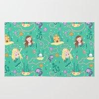 mermaids Area & Throw Rugs featuring Mermaids by lindsey salles