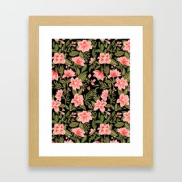 Tropical Pink Floral Pattern Framed Art Print