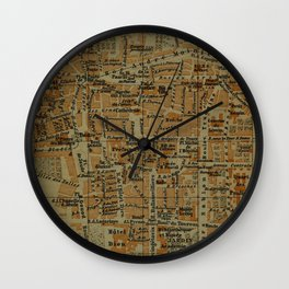 Vintage Clermont-Ferrand France Map (1895) Wall Clock